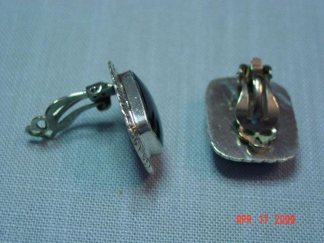 Taxco Sterling & Black Onyx Clip Earrings
