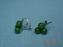 Sterling & Jade Clover Screwback Earrings