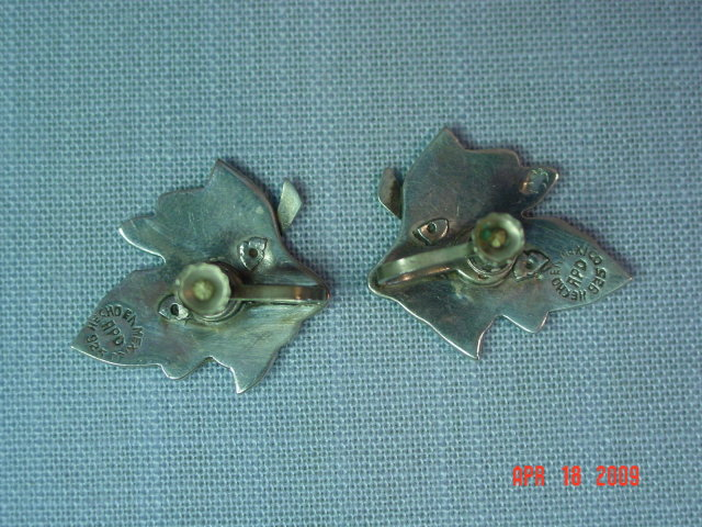 Mexico Sterling Abalone Inlay Leaf Screwback Earrings