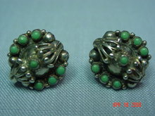 Mexico Silver & Jade Screwback Earrings