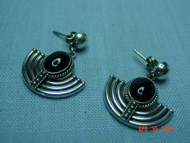 Sterling Black Onyx Pierced Earrings