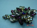 Vintage Purple Rhinestone Flower Swag Brooch