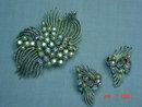 Coro Silvertone Brooch & Clip Earrings