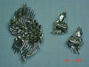 Coro Silvertone Brooch & Clip Earrings
