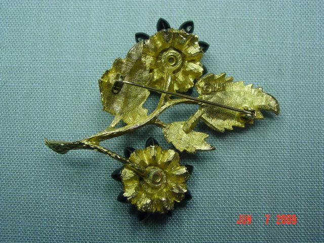 Vintage HAR Goldtone Rhinestone Flower Brooch