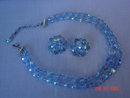 Baby Blue Crystal Bead Necklace & Clip Earrings