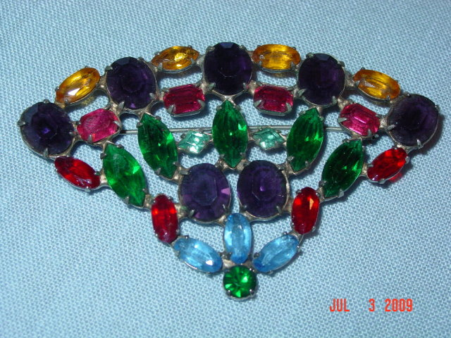 Estate Sterling Silver Colorful Rhinestone Fan Brooch