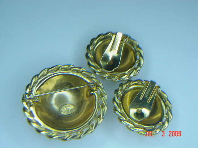 Vintage Hattie Carnegie Goldtone Rhinestone Brooch & Clip Earrings