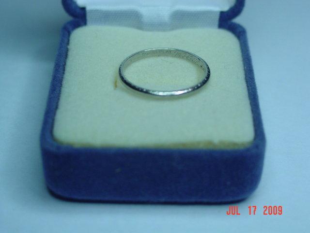 Antique Platinum Wedding Band Size 8-1/4