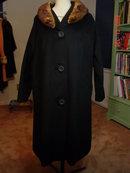 Vintage Black Wool Swing Coat with Mink Collar