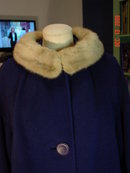 Vintage Navy Blue Wool Swing Coat with Silver Mink Fur Collar