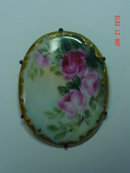Antique Hand Painted Oval Porcelain Brooch