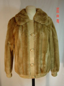 Vintage Tan Leather & Faux Fur London Leathers Jacket Coat by Lilli Ann