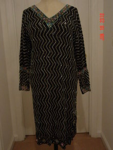 Vintage 50's Black India Silk Beaded Sequined Dress
