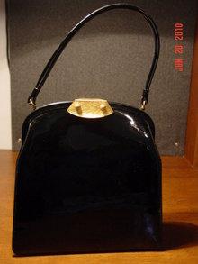 Vintage Genuine Black Patent Leather Bag by Dorian
