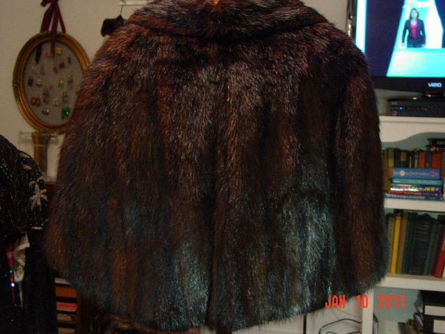 Vintage Brown Fur Capelet