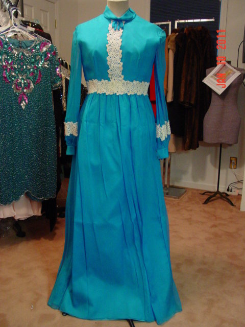 Vintage Teal Blue Lorrie Deb San Francisco Maxi Dress Size 42-44