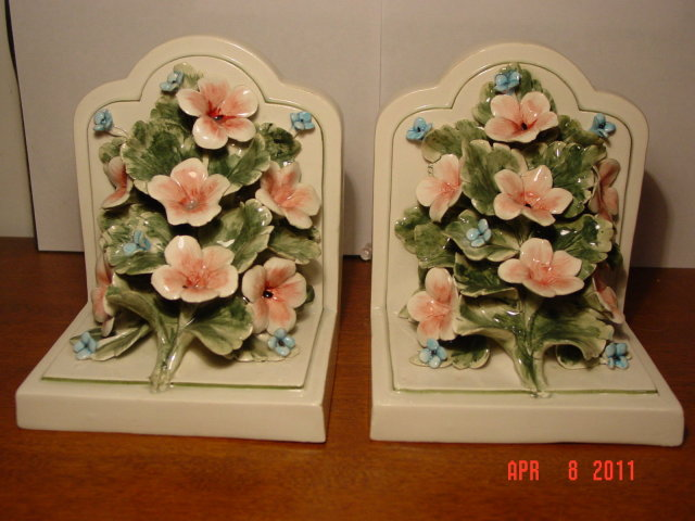 Meiselman Imports Capodimonte Style Porcelain Floral Bookends