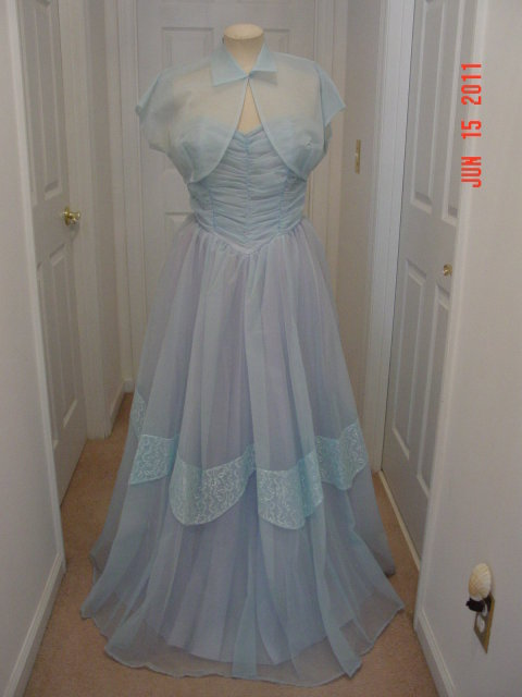 Vintage 50's Light Blue Full Length Strapless Prom Gown & Bolero Jacket
