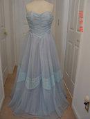 Vintage 50's Light Blue Full Length Strapless Prom Gown & Bolero Jacket