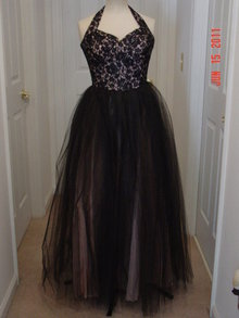 Vintage 50's Black Lace & Honeycomb Tulle on Pink Full Length Halter Top Prom Gown