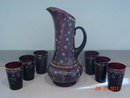 Antique Victorian Amethyst Glass Water or Lemonade Set