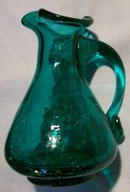 Crackle Blown Glass Pitcher Teal Green 1950's-60's  4.25