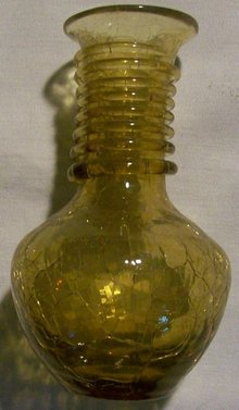 Pilgrim Crackle Glass Vase with Applied Spiral