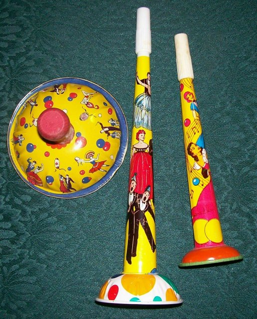 U.S. Metal Toy Tin Noise-Maker Set /3 Vintage 1950's