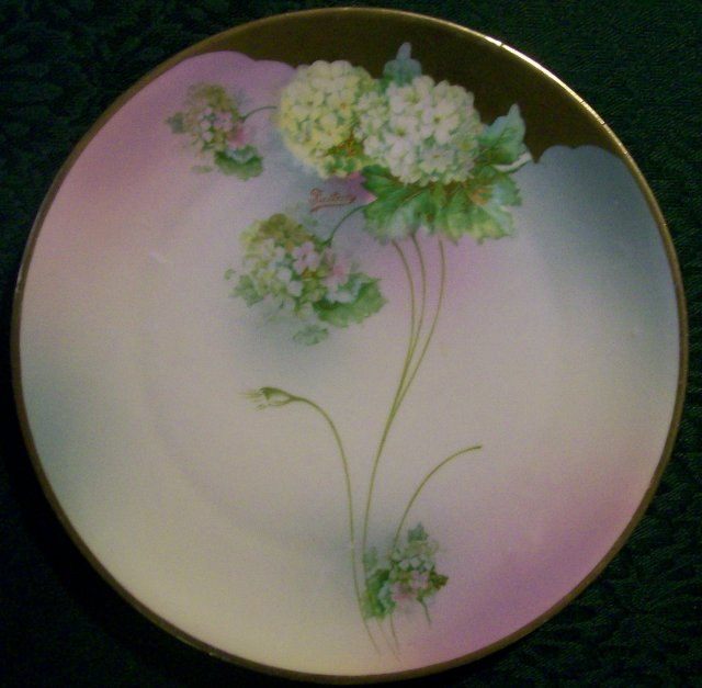 Moschendorf Bavarian Plate with Hydrangea Decoration