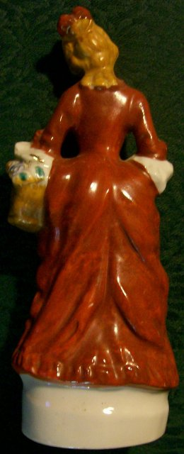 Colonial Lady with Basket Ceramic Figurine Japan 1930s-40s 8.25