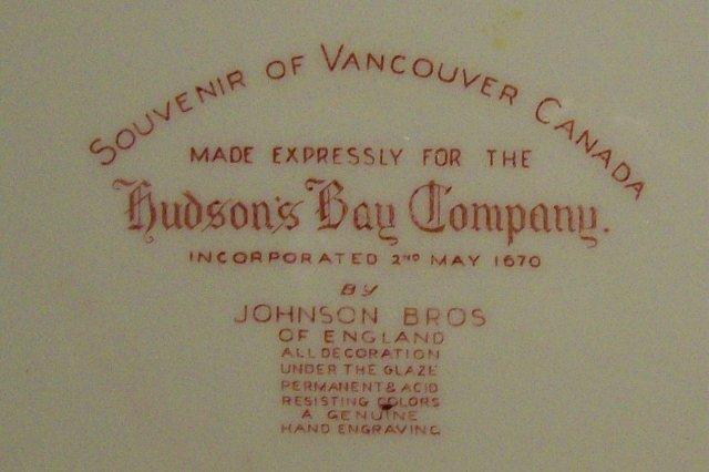 Vancouver Canada Ceramic Souvenir Plate Johnson Bros. 10