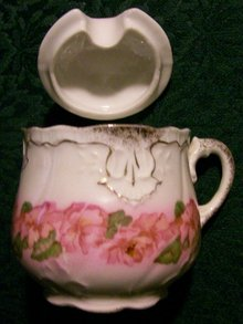 Mustard Pot with Pink Florals