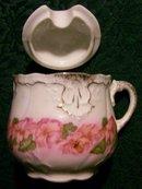 Victorian Porcelain Mustard Pot Pink Florals/Gold Trim Ca. 1900