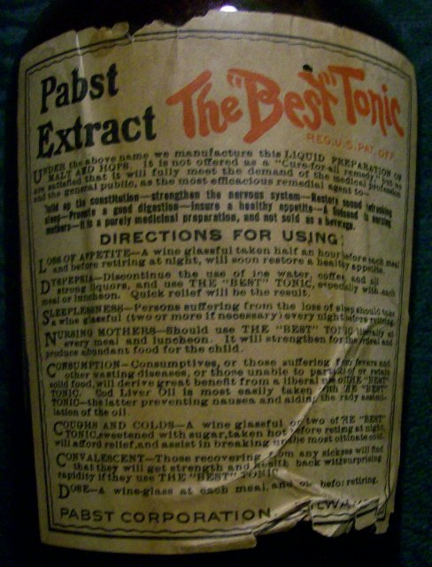 Pabst Extract Bottle with Full Contents: Prohibition Era