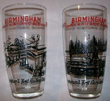 Birmingham Alabama Historic Railroad Glass Tumbler Pair Ca. 1952