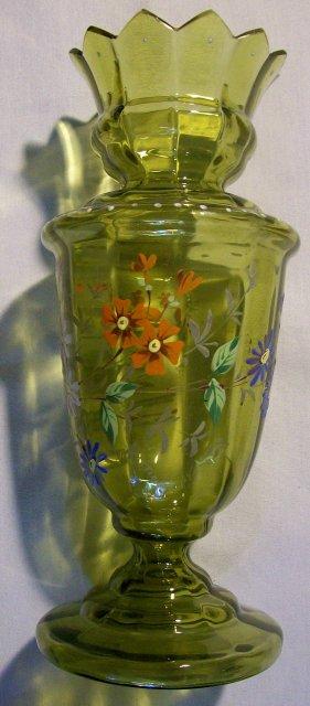 Bohemian Bulb Vase:  Handpainted Enamels