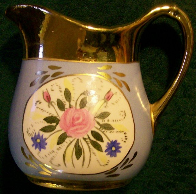 Le Noir/Cumbow? China Pitcher with Rose Bouquet Blue/Gold 1940s 4 5/8