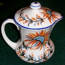 Czech Syrup Pitcher with Lid: Hand-Painted Blue & Orange Floral