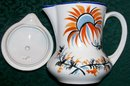 Czech Ceramic Syrup Pitcher with Lid Hand-Painted Blue & Orange Floral