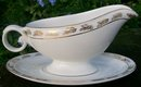 Hall / Poinciana China Golden Oak Ceramic Gravy Boat with Tray 1950's-60's Miami Fl