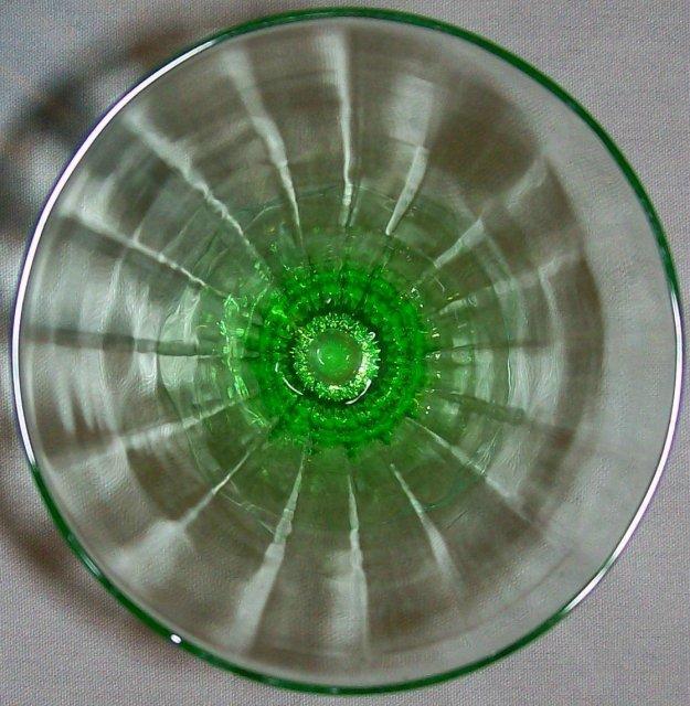 Tiffin Glass Stemware #14196 Green Paneled Optic Iced Tea 5.75