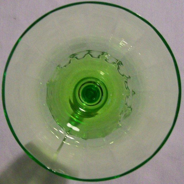 Tiffin Glass Stemware #14196 Green Paneled Optic Wine 6 3/8