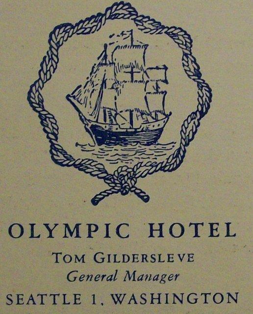 Olympic Hotel Restaurant Menu Georgian Room 1949 Seattle