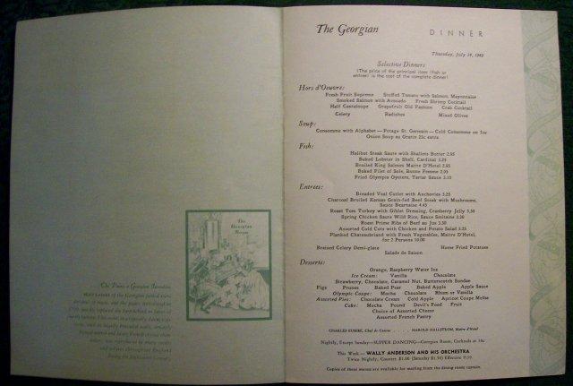 Olympic Hotel Georgian Room Restaurant Menu Seattle 1949