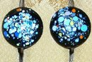 '50's Modern Enameled Copper Earrings Multicolor Spatter on Black Screw-Back