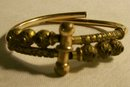 Etruscan Style Gold-Filled Bracelet: Patented 1882 Red Stones By-Pass Hinge