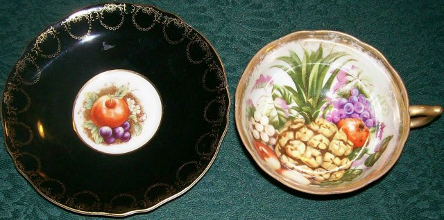 Royal Sealy Ceramic Footed Cup & Saucer Black w/ Fruit Center 1950s