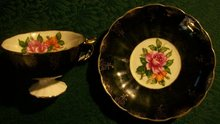 Cup & Saucer: Black with Roses