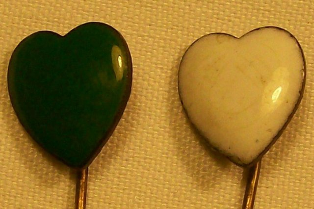 Late 1800's Scarf Pin Pair:  Enameled Hearts